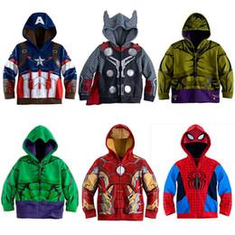 dünne braune lederjacke Rabatt Avengers Iron Man Thor Kinder Hoodies-Jungen-Kleidung-Baby-Mantel-Spinnen-Mann-Halloween-Kostüm-Kind-Kind-Spitze Shirts MBT094 LY191225