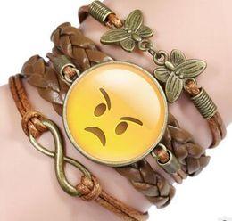 braceletes engraçados Desconto 16 Cores Engraçado Emoji Nova Moda Jóias Multicamadas Tempo Pulseira Jóia Crianças Adolescente Cordão De Couro Pulseira