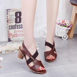 Zapatos de baile online-Lucky2019 Mujer Buey Zapato de tendón Luz antideslizante Cómodo Parte inferior suave Cuadrado Un paso de baile Sandalias La mujer codificará