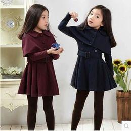 3 4 5 6 7 9 10 11 12 year old Teen Girls Autumn Dress with Short Cloak Solid Long Sleeve Dresses Elegant Winter Dress Girls 2019 Y200102