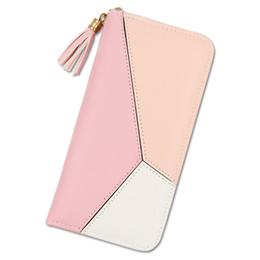 Цветной блок сумочки онлайн-Women Geometric Clutch PU Leather Block Color Coin Purse Zipper Phone Bags Fabala Long Purse Wallet Handbag Card Holder