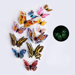 12pcs / set Multicolor parede borboleta Luminous 3D Stickers Magnet PVC Fluorescência borboletas Kids Party Decoration Bedroom de Fornecedores de painéis de parede 3d por atacado
