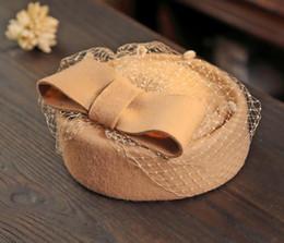 Elegantes barett online-Elegante weibliche Fedoras Wollfilz Mesh Bow Floral formale Berets Fedora Hüte für Frauen Lady Party Hat