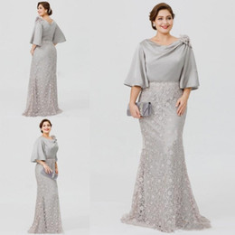 b5c17d461e55 2019 New Silver Elegant Long Mother Of The Bride Dresses Half Sleeve Lace  Mermaid Wedding Guest Dress Plus Size Formal Evening Wear