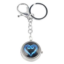Quarz keychain online-Classic Silver Turntable Keychain Taschenuhr Stilvolle Unisex Kleine Quarz Taschenuhren Praktische arabische Ziffern Zifferblatt Anhänger Uhr