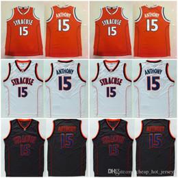 Сиракузы джерси онлайн-Лучшие качества Сиракузы колледжа NCAA Кармело # 15 Энтони Джерси Оранжевый Черный Белый Mens Кармело Энтони Колледж баскетбольное Сшитые