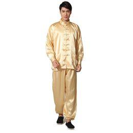 2019 золотые костюмы для новинок Новинка Золото мужская атласная пижама набор в китайском стиле пуговицы пижамы костюм мягкий пижамы рубашка пижамы ночная рубашка S M L Xl Xxl MX190724