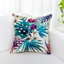 estampados de flores tropicales Rebajas Funda de almohada decorativa para sofá de lino Flamingo Fundas de cojines para el hogar Funda de almohada con estampado de flores tropicales impresas a una cara BH0568 TQQ