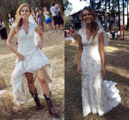 Pays Vintage Robes De Mariée V Cou Cap Manches De Longueur De Plancher De Dentelle Robes De Mariée Cowgirls Haut Bas Robes De Mariée Mariage ? partir de fabricateur