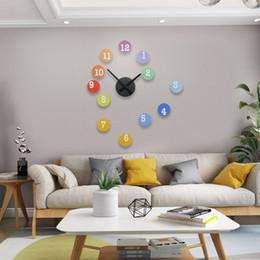 panneau marcheur Promotion 2019 MEISD DIY Arc En Ciel Coloré Rond Horloge Murale Design Moderne Silencieux Suspend Autocollant Horloges 3D Quartz Salon Mur Montre