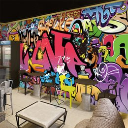 Fondos de pantalla de graffiti online-Envío libre grande mural de papel tapiz de fondo barra corredor Cafe arte de la calle de graffiti mural de papel pintado habitación 3D