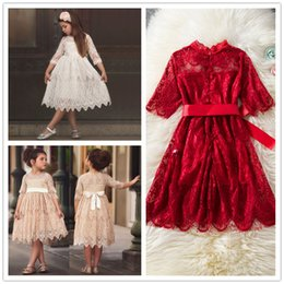 ribbons bows for skirts Promo Codes - Girls Medium Sleeve Lace princess Dresses Ribbon bowknot lace skirt for party festivals performance 1-6T