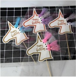 decorazioni di compleanno di cupcake Sconti Compleanno Decorazione di nozze Cake Topper Tassel Unicorn Tag per Wedding Baking Cake Unicorn Party Cupcake Toppers Decor Cake Accessori
