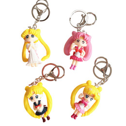 sailor moon anime figures Promo Codes - 2019 Kawaii Cartoon Sailor Moon Figure Pendant Keychains Women Girl Anime Fans Keyring Key Holder Souvenir Jewelery Key Chain
