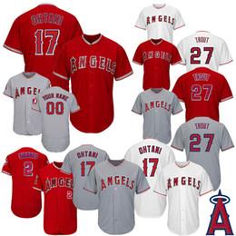 Tamanho 56 camisolas on-line-Anjos de beisebol de Los Angeles de homens 27 Mike Trout 17 Shohei Ohtani 56 Kole Calhoun 2 Andrelton Simmons Jerseys tamanho S-4XL