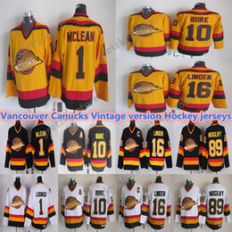 Authentisches hockey online-Männer Vancouver Canucks CCM Vintage Trikots 10 Bure 16 Linden 89 Mogilny 1 McLean Authentic Hockey Trikots