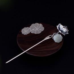 Bastões de cabelo de jade on-line-925 flor de jade prata varas de cabelo de prata handmade natural jade palácio do vintage hairwear para as mulheres presente de jóias de casamento