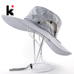 2019 caminhadas chapéus Aba larga Chapéu Panamá Homens Outdoor respirável malha impermeável Cap Sun cor sólida Hat Esporte Escalada Caminhadas proteção UV Chapéus caminhadas chapéus barato