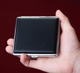 leder zigarettenetui Rabatt DHL Schwarz Tasche Leder Metall Tabak 20 Zigarettenrauch Halter Aufbewahrungskoffer Box Werbung Werbegeschenke ne