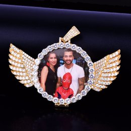 Fare foto online-Argento oro personalizzato foto con ali medaglione pendente collana 3/4 / 5mm catena da tennis cubic zircone uomini gioielli hip hop