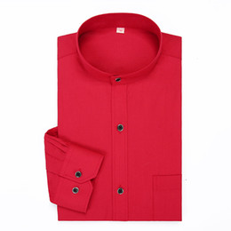 Случайные китайские цвета рубашки онлайн-Stand Collar Mens Dress Shirts Solid Color Long Sleeve Chinese Style Mandarin Collar Red Casual Classical Formal  Shirt Man