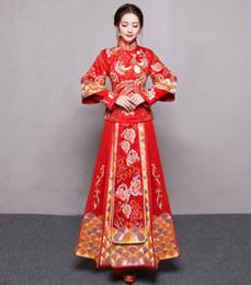 Costume cinese sposa online-abito da sposa stile vintage cinese royal phoenix matrimonio cheongsam costume rosso sposa tradizionale vestito di Tang ricamo Qipao Nuovo
