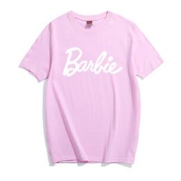 donne grafiche di pullover Sconti T-shirt in cotone con stampa lettera Barbie T-shirt con grafica sexy per donna T-shirt casual T-shirt manica corta T-shirt donna