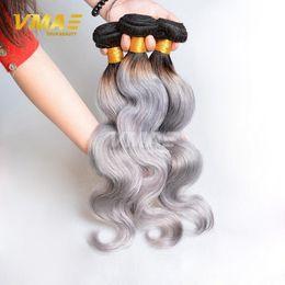 2020 двухцветные седые волосы Top ломбера 1B / Gray Two Tone перуанский Virgin VMAE Серый Extensions человеческих волос Weave тела Wave 3 волос Пучки Ткачество дешево двухцветные седые волосы