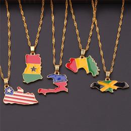 patriotische anhänger Rabatt Ich LIEBE HAITI Karte Flagge Afrika Jamaika Liberia Ghana Guinea Karte Halskette Anhänger Männer und Frauen patriotische Halskette