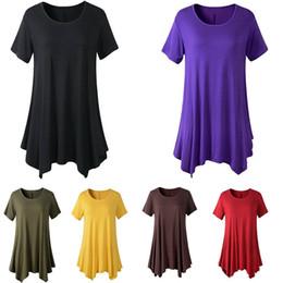 hinzufügen von ärmeln kleid Rabatt Weibchen Hinzufügen Dünger Kurzarm Loses T-shirt Großes Pendelkleid Große Polyesterfaser Runder Kragen Blau Rosa 17bd C1