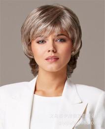Flechas curtas longas cabelos encaracolados on-line-das mulheres de várias cores peruca de cabelo curto encaracolado com Oblique Bangs Ouro Mixed Cinzento Com simulado couro cabeludo e Rose Intranet 30 cm de comprimento