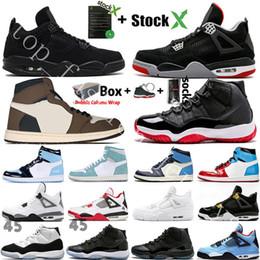 scarpe kevin durant scarpe basse Sconti 2020 Black Cat 4 4s White Cement What The 1 1s Travis Scotts Grey Mens scarpe da basket UNC Bred 11 11s Concord Uomini Sport Sneakers Designer