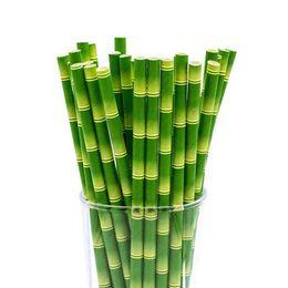 25 adet / grup Yeşil Bambu Kağıt Dilimleri Mutlu Doğum Günü Düğün Dekoratif Olay Tropikal Parti Malzemeleri İçme Saman nereden