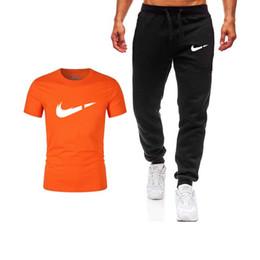 Männer Sets Männer Jogger Marke Männliche Hose Pants + T Shirts Trainingsanzug Männliche Jogginghose Männer Gym Muscle Cotton Fitness Workout von Fabrikanten