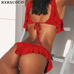 56c866cdae996 RXRXCOCO Newest Brazilian Bikini Set 2019 Sexy Off Shoulder Bikini Mujer Swimwear  Women Swimsuit Halter Push Up Bathing Suits