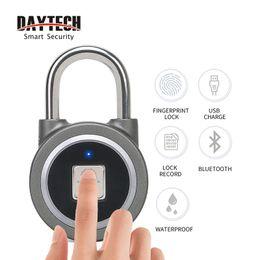 Bluetooth de seguridad online-DAYTECH Huella digital Candado Bluetooth Inteligente Cerradura de la puerta eléctrica Batería recargable Seguridad antirrobo para la caja de la casa / gimnasio