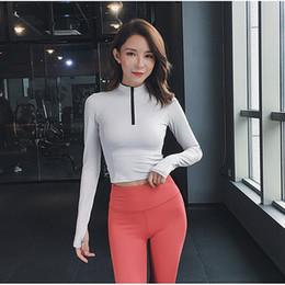d1e0aed746b 2019 New Women Half Zipper Gym Slim Long Sleeve Sport T Shirt Fitness Women  Sexy Yoga Crop Tops Outdoor Running T-shirts