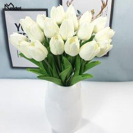 Tulipes jaunes artificielles en Ligne-vente en gros fleur de tulipe bouquet de mariée demoiselle d'honneur artificielle PU fleurs de tulipe blanc jaune bricolage maison fête de mariage