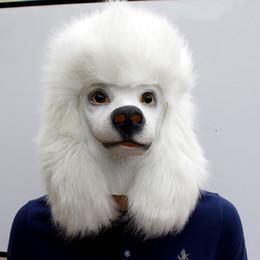 2019 máscara de luxo de penas Cão de Poodle BRANCO Máscara de Halloween Cão de Látex Cabeça Cheia Animal Fantasia Traje de Natal Máscaras Adulto