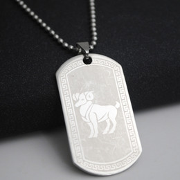 zodiac steel pendant Coupons - 1 Aries stainless steel 12 twelve constellation sign necklace 12 Zodiac symbol amulet necklace Korean lucky 12 sign necklace jewelry