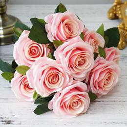 grinaldas de videira a atacado Desconto 10 Chefes Rose flores artificiais casamento nupcial prende toque real Falso Rose Flower Bouquet para jardim de decoração Florals