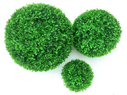 plastic boxwood topiary Promo Codes - 1pc Green Artificial Plant Ball Topiary Tree Boxwood Wedding Party Home Outdoor Decoration Plants Plastic Grass Ball Manmade Greenery