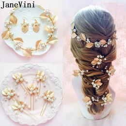 Fasce di capelli occidentali online-JaneVini Western foglia oro perla forcelle cristallo accessori per capelli da sposa fascia orecchini orecchini gioielli Haar Sieraden