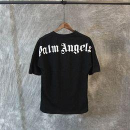Camisas de manga comprida on-line-19SS alta qualidade palma anjos camiseta branca letras pretas imprimir verão Tees homens mulheres de grandes dimensões camiseta Hip Hop rua mangas curtas Tops
