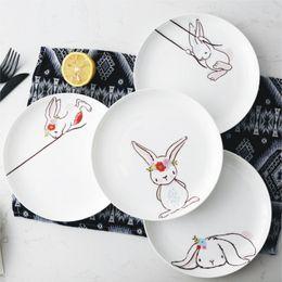 platos de horno de cerámica Rebajas Vajilla Placas 1PC 8 pulgadas platos de la cena de cerámica Plato de conejo Animal Pasta Steak Platos de Postre Fine Bone China Utensilios de cocina