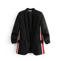 Вертикальные белые полосы онлайн-Случайный женский чистый черный случайный маленький костюм с отворотом с длинным рукавом с двухсторонним красным белым вертикальной полосой карманный костюм украшения