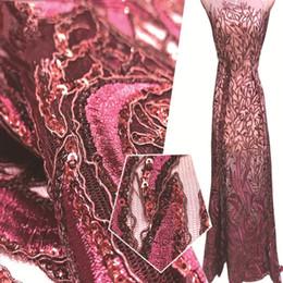 robe de dentelle couleur vin Promotion Tissu paillettes d'or par broderie de jardin brodé de tissu africain de dentelle de paillette pour la robe de soirée à coudre couleur de vin bleu