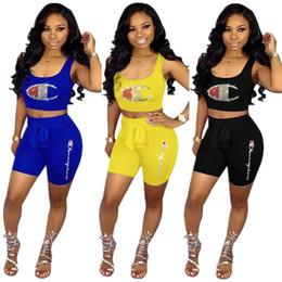 Heiße bhs marken online-Frauen Champion Sparkling 2 Stück Shorts Set Hot Drilling Crop Tank BHs + Shorts Designer Diamond Dazzling Trainingsanzug Marke Sportswear A53001