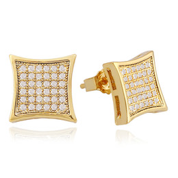 Rhinestone cuadrado online-Pendientes de oreja de hip hop con diamantes para hombres, geometría, diamantes de imitación, pendientes de oro plateado, oro, cobre, diamante, joyería cuadrada, envío gratis