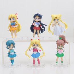 sailor moon anime figures Coupons - ction figure collectible 6pcs set Anime Cartoon Sailor Moon Mars Jupiter Venus Mercury Q Version PVC action Figures Collectible Model Toy...